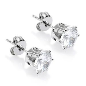 Jewelry - Clear Topaz 18K White Gold Plated Stud Earrings